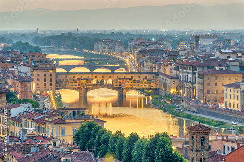 Aluminium Prints Florence Florence sunset city skyline and Ponte Vecchio Bridge, Florence, Italy