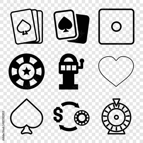 Set of 9 gamble filled and outline icons плакат