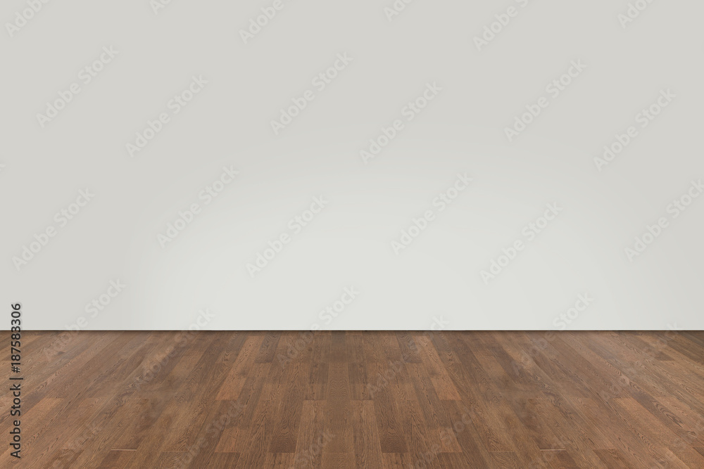 Fototapeta Walnut wood floor with wall background