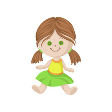 Cute Soft Doll With Brown Hair...