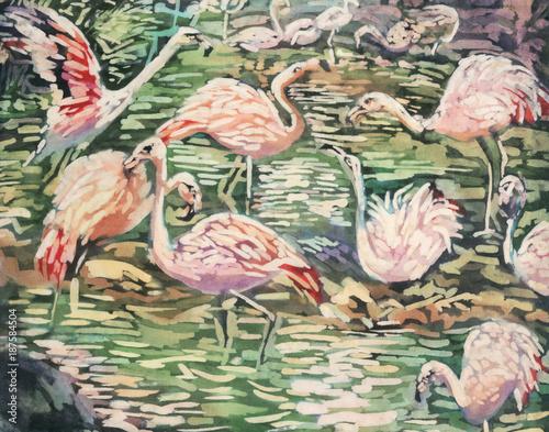 batik painting of flamingos