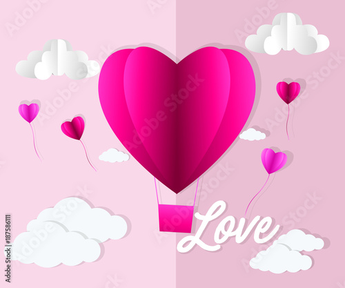 Valentines day , Illustration of love , Hot air balloon in a heart shape flying on sky , paper art