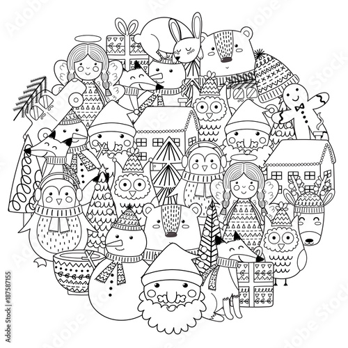 Foto  Merry Christmas circle shape pattern for coloring book