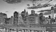 Night view of Downtown Manhattan from Brooklyn Bridge, New York City