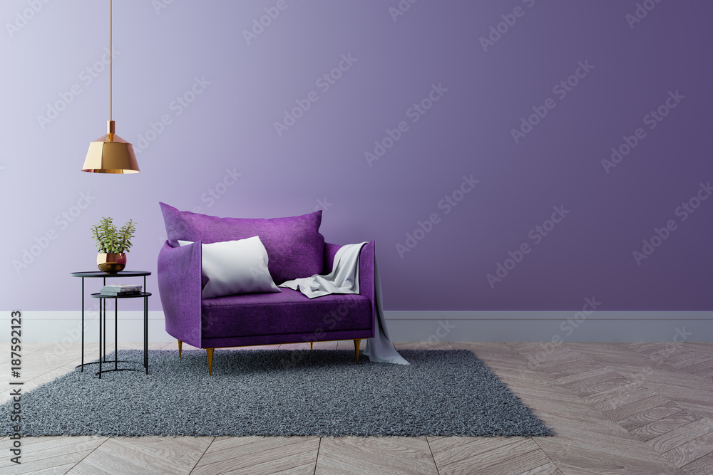 Fototapety, obrazy: Luxury modern interior of living room ,Ultraviolet home decor concept ,purple sofa and black table with gold lamp on light purple wall and woodfloor ,3d render