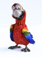 3D Rendering Of Cartoon Parrot...