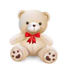 Cute Teddy Bear Isolated On W...