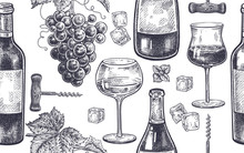 Seamless Pattern With Wine Dri...