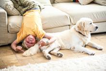 Boy Lying Upside Down On Sofa With Dog