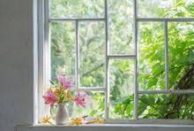 Summer Flowers On Windowsill