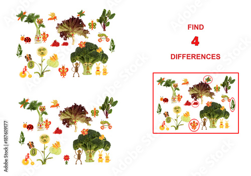 Cartoon figures of vegetables and fruits,  illustration of Educational Counting Task for Preschool Children..
