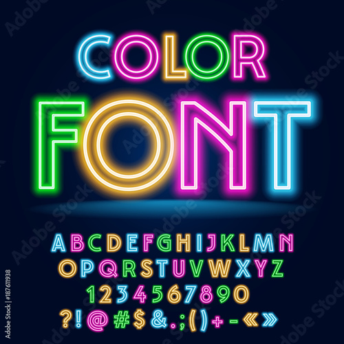 Vector Funny Colorful Neon Font. Trendy set of Bright Party Alphabet Letters, Numbers and Symbols