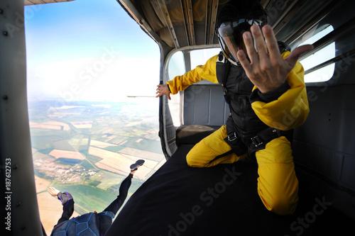 Stampa su Tela Parachuting on sunny day