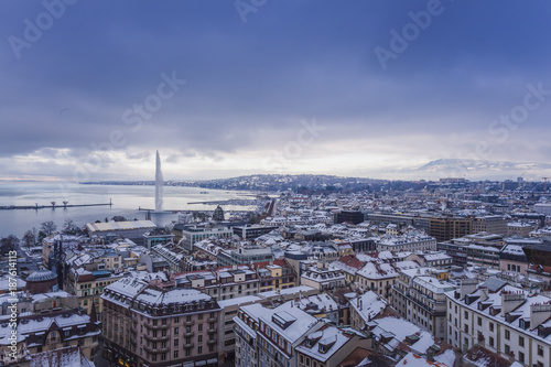 Geneva Old Town in winter with snow Canvas Print