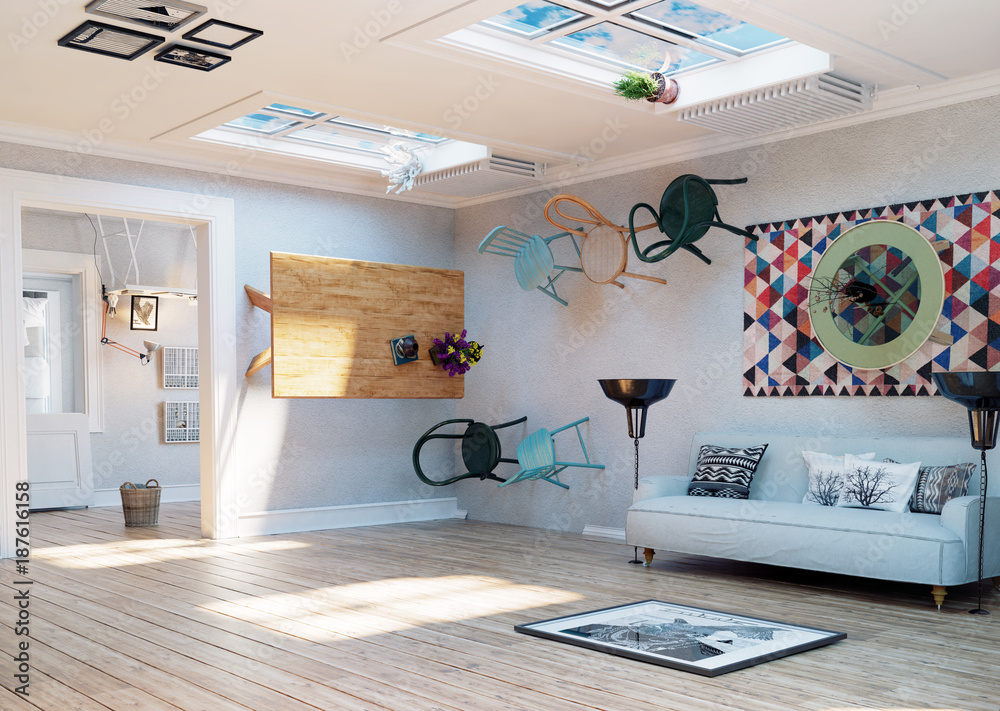 Fototapety, obrazy: upside down room interior.