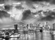 Night skyline of New York City in black and white, USA
