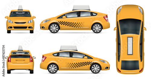 Photo Taxi cab vector mock up for advertising, corporate identity