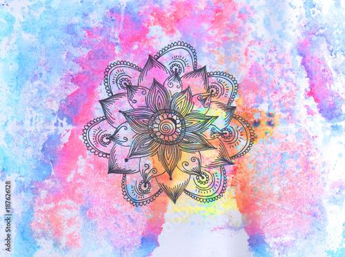 streszczenie-tlo-akwarela-z-mandali-ozdobny-wzor