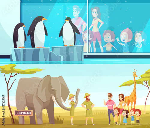 Zoo Animals 2 Cartoon Banners