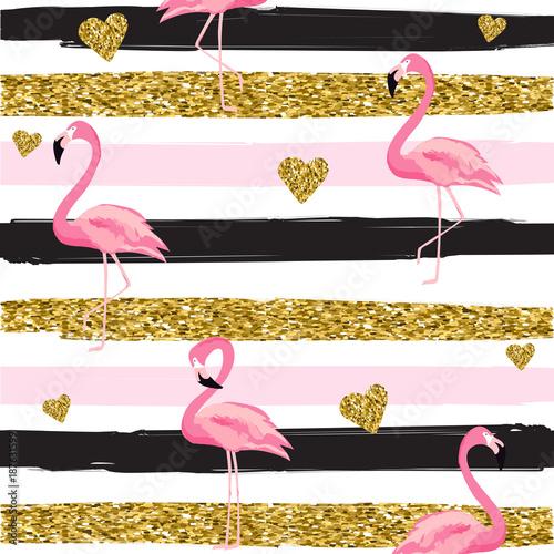 zlociste-blyskotliwe-serca-i-flamingi-bezszwowy-wzor-na-pasiastej-tlo-wektoru-ilustraci-wzor-tekstury