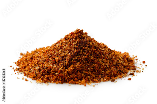 Printed kitchen splashbacks Spices A pile of a red bbq spice mix ioslated on white.