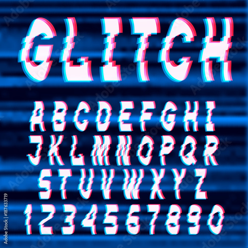 Fotobehang Draw Glitch distorted font letters and numbers