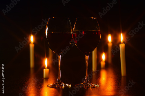 Red Wine Glass And Candle Romantic Ambiance Composition Photography