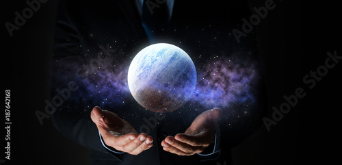 close up of businessman with planet hologram Wallpaper Mural