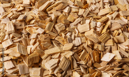 Foto auf Leinwand Brennholz-textur Wood chips texture, wooden background, top view.