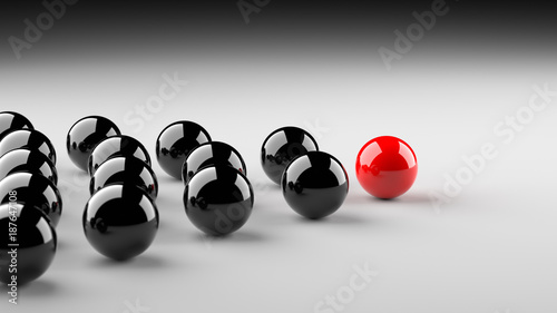 Leadership, success, and teamwork concept, red leader ball leading black balls. 3D Rendering.