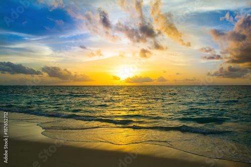 Printed kitchen splashbacks Cappuccino Landscape of beautiful sunset in Maldives