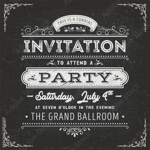 Vintage Party zaproszenie na tablicy szkolnej
