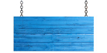 Wooden Blue Sign Isolated On W...