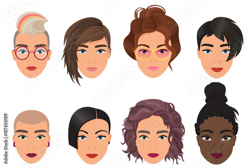 Poster Chambre d enfant Woman female avatar set vector illustration. Modern multiethic beautiful young girls portrait with different fashion hair style.