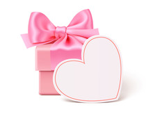 Pink Present With Empty Heart Tag For Wedding Or Valentines Day Design. Vector Gift Box Isolated On White