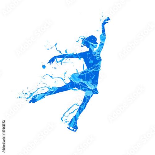 Fotografija Silhouette of figure skating girl. Blue pain