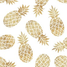 Golden Pineapples Seamless Vec...