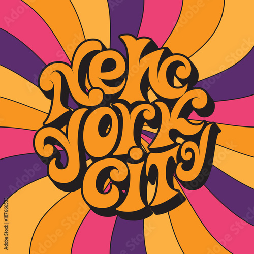Fotografia New York city.Classic psychedelic 60s and 70s lettering.