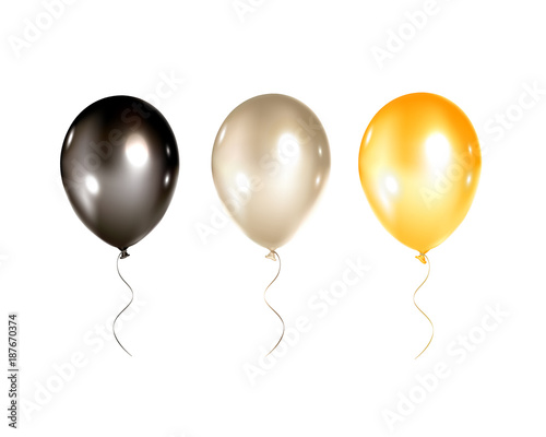 Festive Gold Black And Silver Balloons Isolated On White Background Bright For Holidays