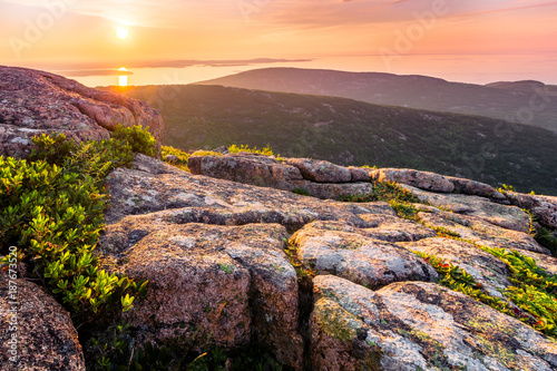 Sunrise view from the top of Cadillac Mountain Wallpaper Mural