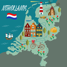 Cartoon Map Of Holland With Le...