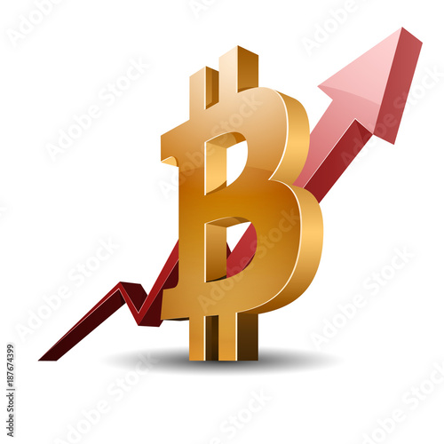 Spoed Foto op Canvas Canada Bitcoin Chart sign illustration