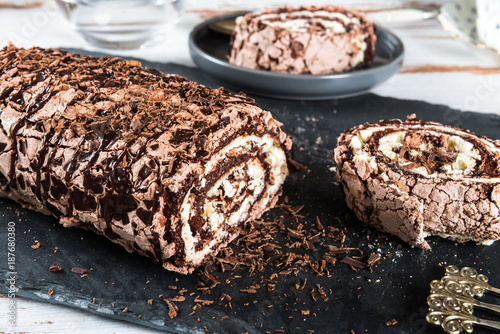 Fototapeta  Belgian Chocolate Meringue Roulade
