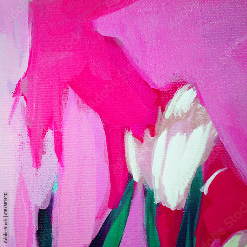 Fotobehang Roze abstract landscape with plants, painting by oil on canvas