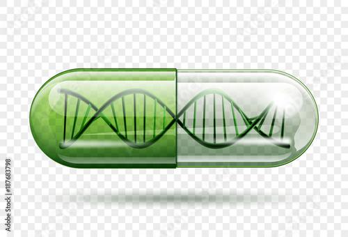medical capsule with a DNA molecule structure inside Fototapeta