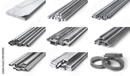 Photo Rolled metal products. Steel profiles and tubes. 3d illustration