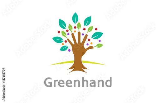 Fototapety, obrazy: Creative Green Hand Tree Logo Design Symbol Illustration