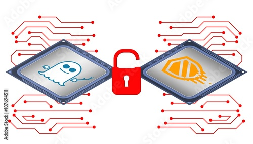 Photo Illustration of cyber security concept on meltdown and spectre attacks