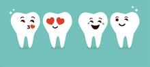 Cute Teeth Emoticons Cartoon Vector.