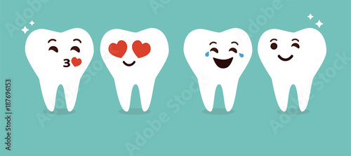 Cute teeth emoticons cartoon vector.